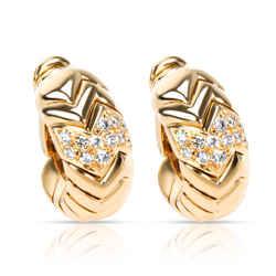 Bulgari Spiga Curved Diamond Hoop Earrings In 18kt Yellow Gold  0.75 Ctw