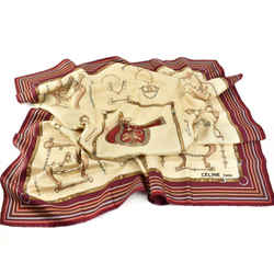 "CELINE: Red/Beige & Logo, 100% Silk Twill, Scarf/Foulard 34"" x 34"" (rm)"