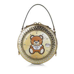 Vintage Authentic Moschino Gold Teddy Bear Watch Leather Satchel Italy