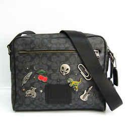 Coach Signature Metropolitan 31543 Unisex Leather,PVC Shoulder Bag Blac BF520870