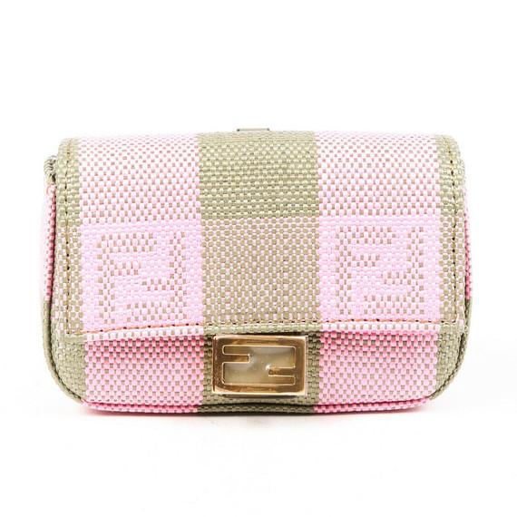 Fendi Baguette Bag Charm Nano Pink Green Raffia Ff Vichy Pequin