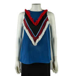 Altuzarra - Top - Blue / Red / White - Fringe Tank - Us 00 - 36