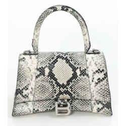Balenciaga Grained Snake Effect Hourglass Top Handle Bag