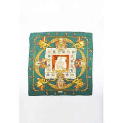 Hermes Hommage a Charles Garnier Green Multicolor Silk Scarf