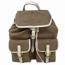 NEW Prada Brown Women Jacquard Ribbon Drawstring Backpack Rucksack Bag