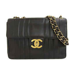 Auth Chanel Mademoiselle Lambskin W Chain Shoulder Bag Black 3rd Leather