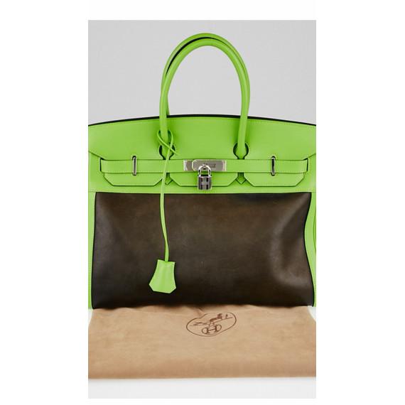 Hermes Birkin Bag 35 Vert Cru Swift Amazonia Palladium 14L x 7.5W x 10.75H