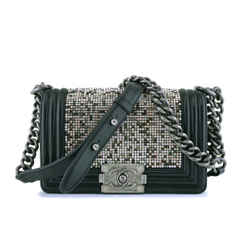Rare Chanel Black Strass Crystals Small Classic Boy Flap Bag
