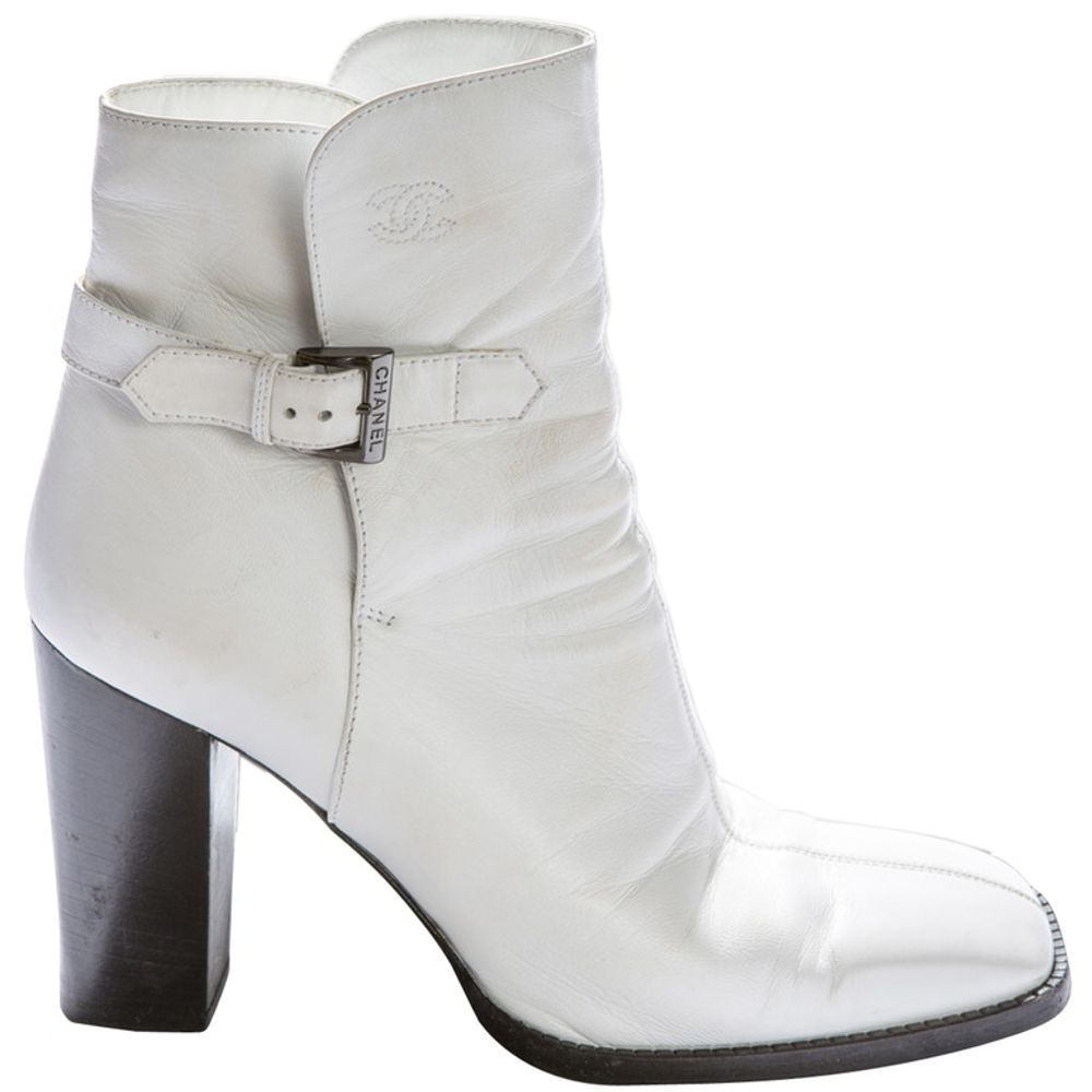 Chanel White Leather Ankle Boots   LePrix