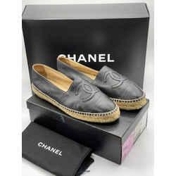 Chanel Lambskin Leather Espadrilles Coco CC Logo EU 39