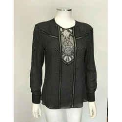 $395 Nwt A.l.c. Jery Lace Insert Polka Dot Silk Top Black White Long Sz 6