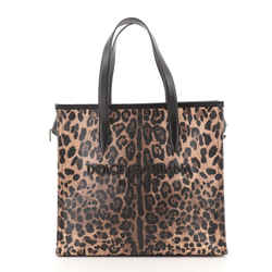 Market Shopping Tote Printed Coated Canvas and Leather Large