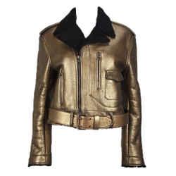 RALPH LAUREN Gold Leather & Black Shearling Belted Moto Jacket