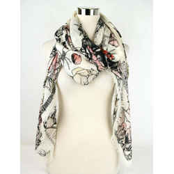 New Alexander Mcqueen Ivory/pink Modal/wool Roses Print Shawl 504445 3a34q 9272