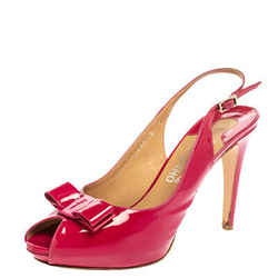 Salvatore Ferragamo Pink Patent Leather Bow Peep Toe Platform Slingback Sandals