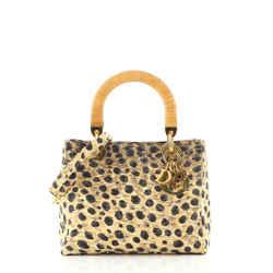 Lady Dior Bag Printed Cannage Quilt Canvas Medium