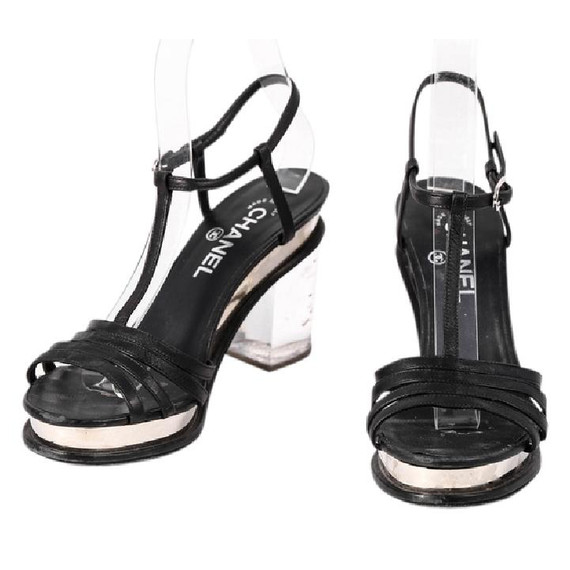 Chanel Strappy Acrylic Heel Sandals Black Size 6.5 Authenticity Guaranteed
