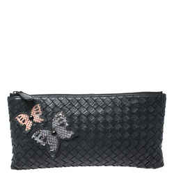 Bottega Veneta Black Intrecciato Leather Ayers Butterfly Clutch