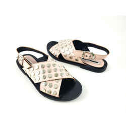 Authentic Alexander Mcqueen Studded Slingback Silver Cream Pink Flat Sandals 38