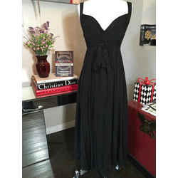 Plein Sud Size 42 Black Cotton Midi Summer Dress 2400-723-31120