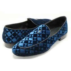 Giuseppe Zanotti Suit Patterned Velvet Loafers - Blue