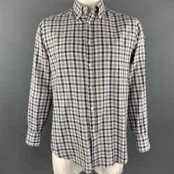BRUNELLO CUCINELLI Size XXL Grey & Navy Plaid Cotton Long Sleeve Shirt