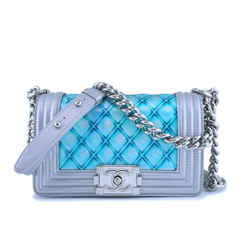 Chanel Turquoise Blue Silver Small Classic Mermaid Water Boy Bag