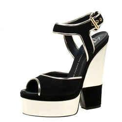 Giuseppe Zanotti Metallic Gold Leather And Black Suede Platform Wedge Sandals...
