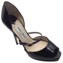 Jimmy Choo Black Patent Leather Peep Toe High Heeled Pumps