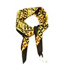 "Paloma Picasso: Brown & Gold ""x"", Silk Scarf Foulard 35"" X 35"""
