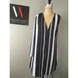 Frame Ptnrs. Sz 6 Black White 1 Sleeve Shift Dress - New