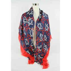Gucci Ghost Blue Modal/silk Gg Star Print Large Square Scarf Shawl 453218 4074