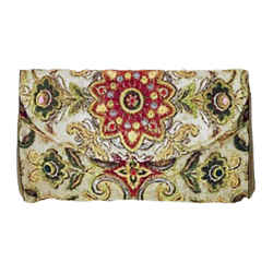 OSCAR DE LA RENTA Bronze Floral Embroidered Print Clutch Handbag with Silk Lining
