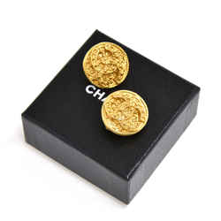 Vintage Chanel Etruscan Style Textured Gold -tone CC Logo Round Earrings