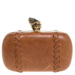 Alexander McQueen Brown Leather Skull Box Clutch