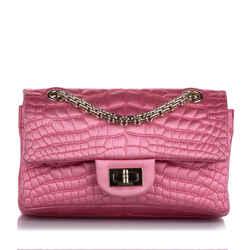 Vintage Authentic Chanel Pink Reissue Croc Stitch Satin Double Flap Bag FRANCE