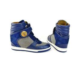 "LOUIS VUITTON: Blue, Leather & ""LV"" Logo, Hi-Top Wedge Sneakers Sz: 9M"