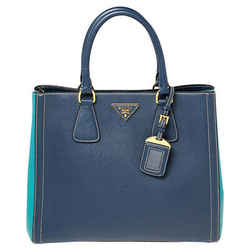 Prada Two Tone Blue Saffiano Lux Leather Tote