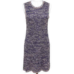 CHANEL Sweater Knit Sleeveless Dress Creme Navy Blue Sz 38 2011 11P