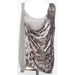 ROBERTO CAVALLI Sleeveless Top Tunic Shirt Grey Sequins Viscose Silk Sz 44