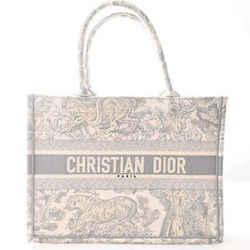 Auth Christian Dior Canvas Book Tote Toile De Jouy Bag White Gray