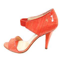 Auth Oscar De La Renta Glossy Coral Patent Leather Sandals, Shoes Size 8.5