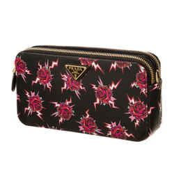 Prada Saffiano Rose Print Mini Zip Crossbody Bag Lacca 1DH010
