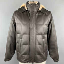 Loro Piana Size L Brown Quilted Leather Zip Off Sleeve Fox Fur Hood Jacket