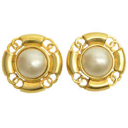 Authentic Chanel Faux Pearl Earrings GP Vintage CC Logo Rim Clip On Jewelry