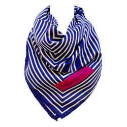 YVES SAINT LAURENT Blue Striped Silk Scarf