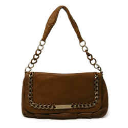 Michael Kors Brown Tan Leather Shoulder Bag with Gold Chain Detail