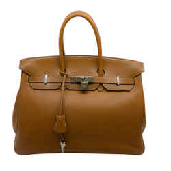 Hermes Birkin 35 2005 Clemence Tan Leather Satchel