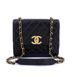 Chanel Vintage Black Tall Medium Classic Flap Bag Messenger 24k GHW