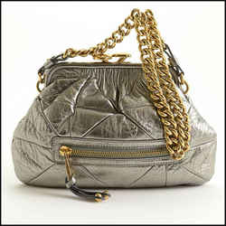 Rdc11361 Authentic Marc Jacobs Silver Quilted Leather Little Stam Bag